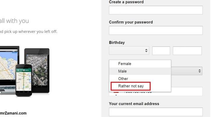 سوال جنسیت ثبت نام جیمیل - اگر دوست نداری خب نگو!
